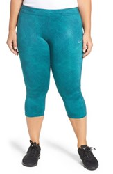 Nike Plus Size Women's 'Essential' Print Dri Fit Crop Leggings Midnight Turquoise Silver