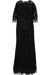 Marchesa Velvet And Sequin Embellished Tulle Gown Black