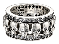 King Baby Studio Wide Band Ring W Skulls And Cz