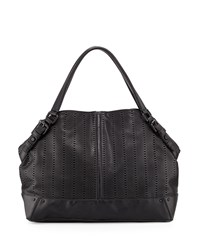 French Connection Rose Laser Cut Domed Tote Bag Black