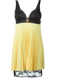 Fausto Puglisi Lace Hem Pleated Dress Yellow And Orange