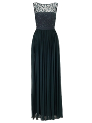 Ariella Cynthia Beaded Neckline Long Dress Green