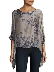 Saks Fifth Avenue Floral Print Silk Blouse Taupe