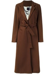 Eggs Belted Mid Coat Brown