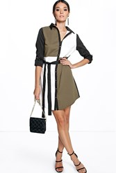 Boohoo Colour Block Shirt Dress Khaki