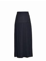 Muveil Buttoned Pleated Wool Midi Skirt