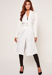 Missguided White D Ring Tie Duster Jacket