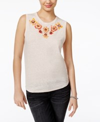 Guess Floral Embellished Tank Top Prairie Sunset