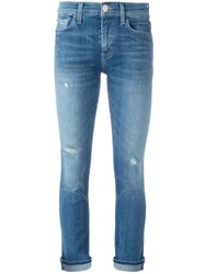 Hudson Distressed Cropped Jeans Blue