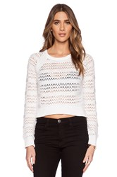 Michael Stars Long Sleeve Hi Low Crop Sweater White