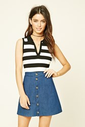 Forever 21 Striped Ribbed Knit Top