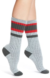 Wigwam 'Lakewood' Stripe Crew Socks Charcoal Red
