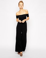 Asos Bardot Jersey Jumpsuit With Wide Leg Black