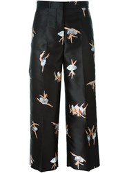 Rochas Ballerina Print Cropped Trousers Black