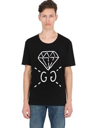 Gucci Diamond Printed Cotton Jersey T Shirt