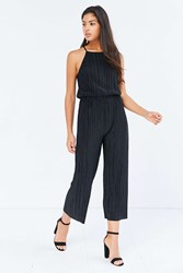 Silence And Noise Accordion Pleat Culotte Jumpsuit Black