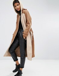 Asos Trench Coat With Jersey Hood Brown