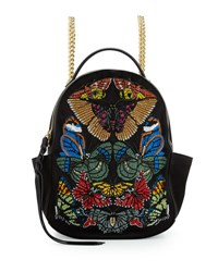 Alexander Mcqueen Small Embroidered Chain Backpack Black Multi