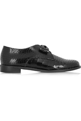 F Troupe Bow Embellished Croc Effect Leather Loafers Black