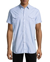 English Laundry Striped Short Sleeve Sport Shirt Blue