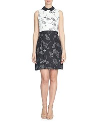 Cece Refined Dandelions Colorblock Sleeveless A Line Dress Black White