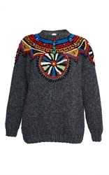 Stella Jean Grey Contenere Embroidered Sweater Dark Grey