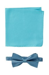 Nicole Miller Silk Natte Bow Tie And Pocket Square Boxed Set Blue