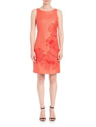 Josie Natori Lacquered Raffia Dress Flame