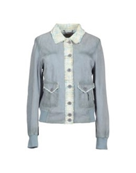 Le Sentier Leather Outerwear Sky Blue