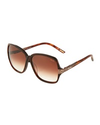Nina Ricci Crystal Accent Gradient Acetate Sunglesses Brown Tortoise