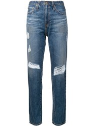 Ag Jeans Distressed Straight Leg Trousers Blue