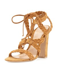 Braided Suede Tie Sandal Gianvito Rossi Brown