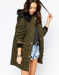 New Look Padded Parka With Faux Fur Hood Khaki