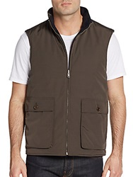 Saks Fifth Avenue Wool And Cashmere Reversible Vest Dark Brown