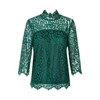 Soaked In Luxury Ava Lace Blouse Green