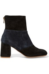 See By Chloe Two Tone Suede Ankle Boots Black