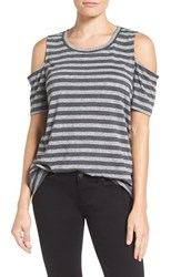 Pleione Women's Cold Shoulder Short Sleeve Tee Charcoal Stripe