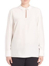 Lafayette 148 New York Plus Size Shay Silk Blouse Cloud