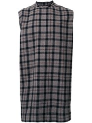 Rick Owens Checked Loose Fit Top Grey