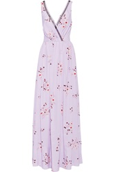 Nina Ricci Tulle Trimmed Floral Print Silk Crepe De Chine Gown