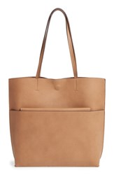 Street Level Faux Leather Pocket Tote Brown Taupe