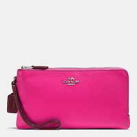 Coach Double Zip Wallet In Colorblock Leather Silver Burgundy Cerise
