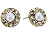 Oscar De La Renta Pearl P Stud Earrings Crystal Golden Shadow