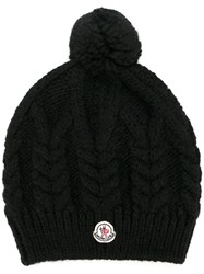 Moncler Pompom Cable Knit Beanie Black