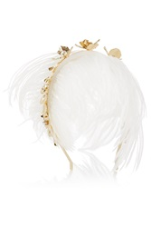 Rosantica Gold Tone Pearl And Feather Headband