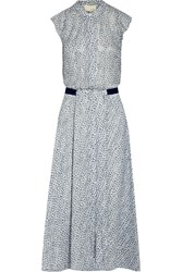 Band Of Outsiders Printed Swiss Dot Silk Midi Dress Blue