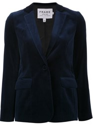 Frame Denim Velvet Effect Blazer Blue