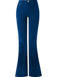 Amapa High Waisted Flared Trousers Blue