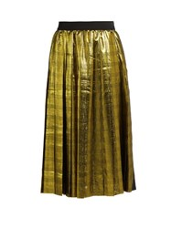 Muveil Metallic Pleated Skirt Gold