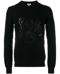 Kenzo Silicone Tiger Head Wool Sweater Black Denim White